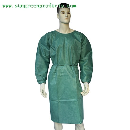Olive SMS surgical gown with knitted cuffs